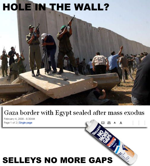 Gaza wall sealed with Selleys No More Gaps